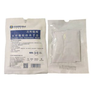 esound med latex examination gloves in paper-plastic bag