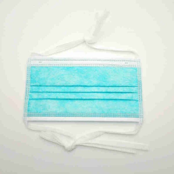 surgical face mask with ties green
